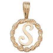 9ct Gold Round rope edged Initial letter S pendant 0.8g